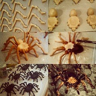 Make these spiders by gluing shortbread cookies together with caramel, painting them in chocolate, and dusting them with toasted coconut