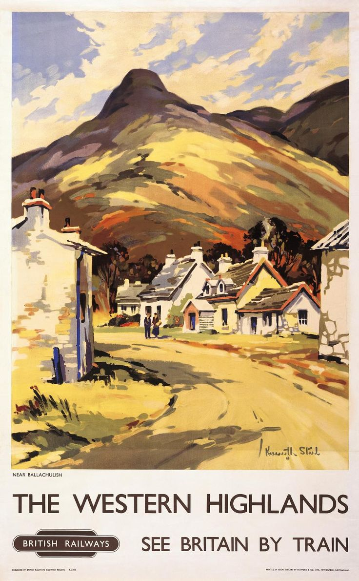Vintage travel poster produced by British Railways showing an image of a Scottish village near Ballachulish in the western highlands of Scotland. Description from travelpostersonline.com. I searched for this on bing.com/images