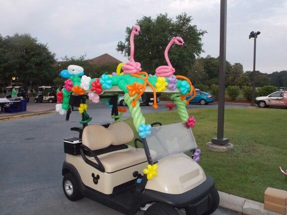 Decorated golf cart central florida balloon decor for Golf decoration ideas