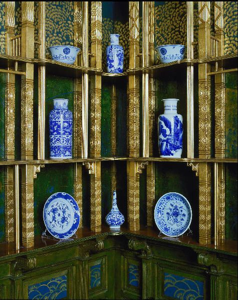 Inspired by the restoration of the room's original splendor, the Freer Gallery of Art began to acquire and display Kangxi blue-and-white porcelain from the Qing dynasty as a way to emulate, as closely as possible, Whistler's original artistic vision of the room. Over time, however, the static display of Chinese ceramics made it difficult, once again, to see the room in all its variety. http://peacockroom.wayne.edu/history-washington F1904.61