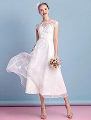 Lanting Bride® Linea-A Abito da sposa Lunghezza tè A barca  88 € Organza con Con applicazioni / Con fiocco / Di pizzo / Fascia / fiocco