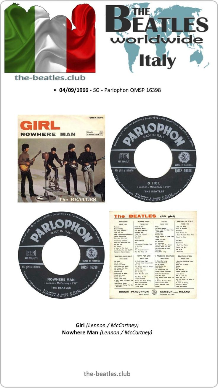 The Beatles Italy Single Parlophon QMSP 16398 Girl Nowhere Man Lyrics Vinyl Record Discography