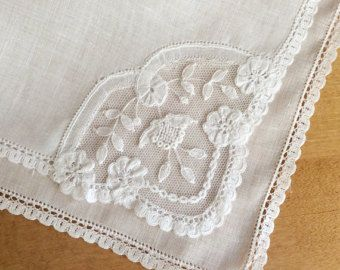 Lace Handkerchief Wedding Handkerchief Swiss by MadAboutHankies
