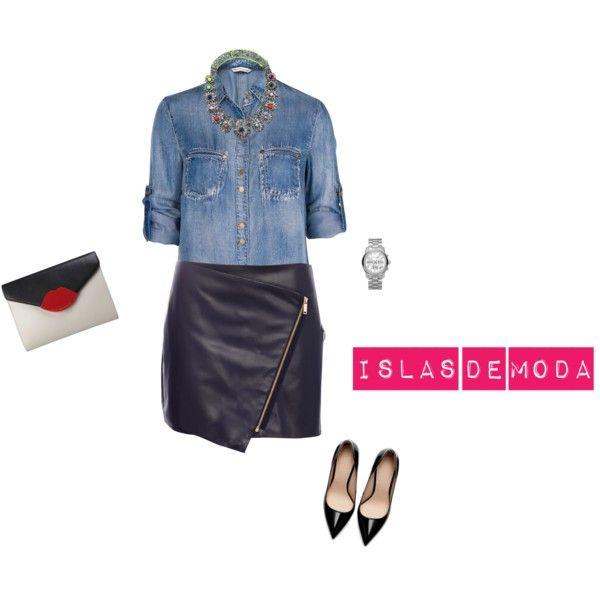De moda: camisa vaquera, falda cuero, stylettos PARTY TIME by islasdemoda, via Polyvore