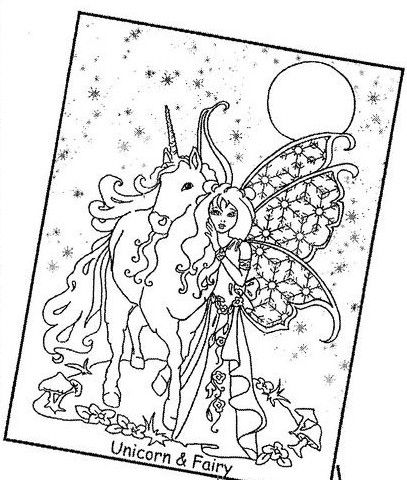 Unicorn & Fairy | Fairy coloring sheets | Pinterest