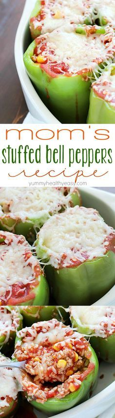 I have great memories of my mom making stuffed bell peppers for my family when I was a kid. This is a slight twist on her classic stuffed bell pepper recipe that I grew up eating and loving!