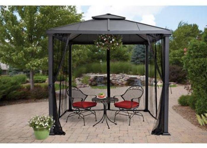 gazebos on sale metal roof backyard 8u0027 x 8u0027 outdoor wedding party netting new