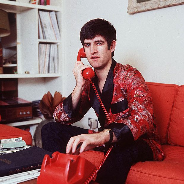 Ed Stewart, dressed in true 1960s style, pictured on the phone in 1967, who sadly died on Saturday 9th January 2016.