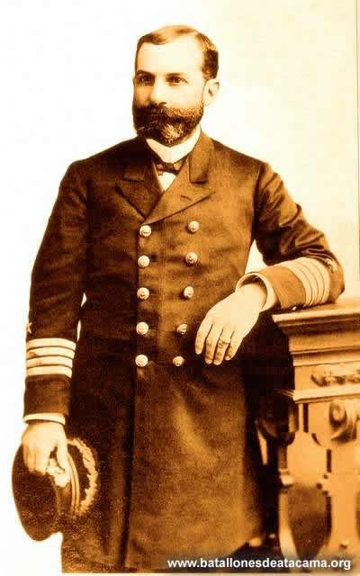 """Capitán de Navío Jorge Montt Álvarez.  Marino, político y Presidente de Chile. Fue hijo de Antonio Montt y de María Álvarez. En la Guerra con España, tomó parte en el combate de Papudo (1865), en el que fue capturada la corbeta """"Covadonga"""". Comandante de la """"Esmeralda"""" en 1877. Participó en el combate naval de Angamos el 8 de octubre de (1879), en la toma de Pisagua (1879) y dirige bloqueo del Callao (1880)."""