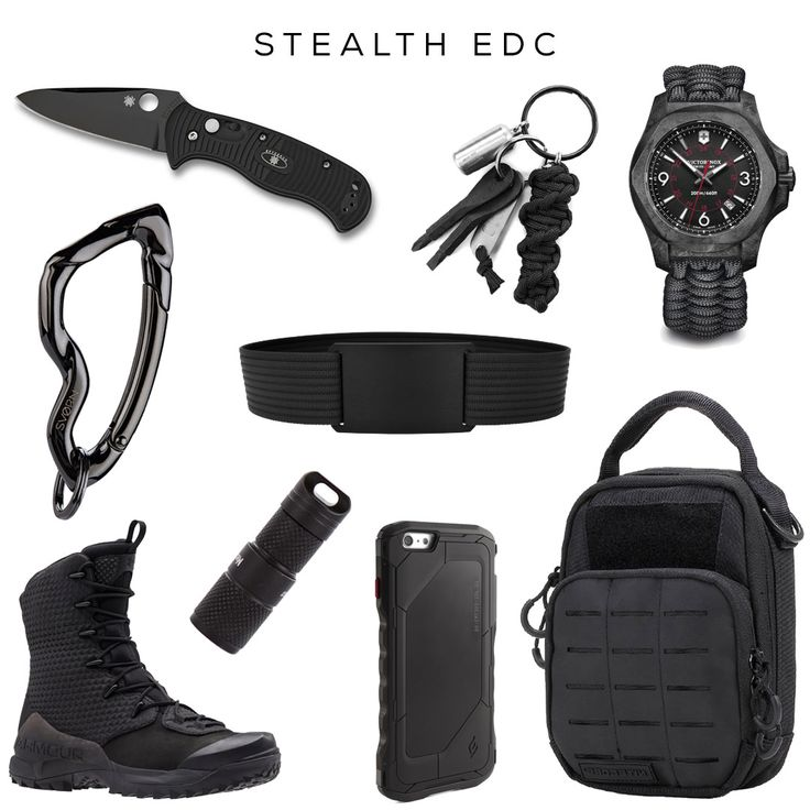 Stealth EDC - Tactical Gear // Clockwise: Knife by Spyderco, Essential EDC Kit by Huckberry, Watch by Victorinox, Tactical Pouch by Nitecore, Ninja Belt by Grip6, Black Ops iPhone case by Sportive, Stealth EDC flashlight by MecArmy, Infil Ops Boots by Under Armour, Arcus carabiner by @svorndesign // #edc #stealth #tactical #specops #army #military #black