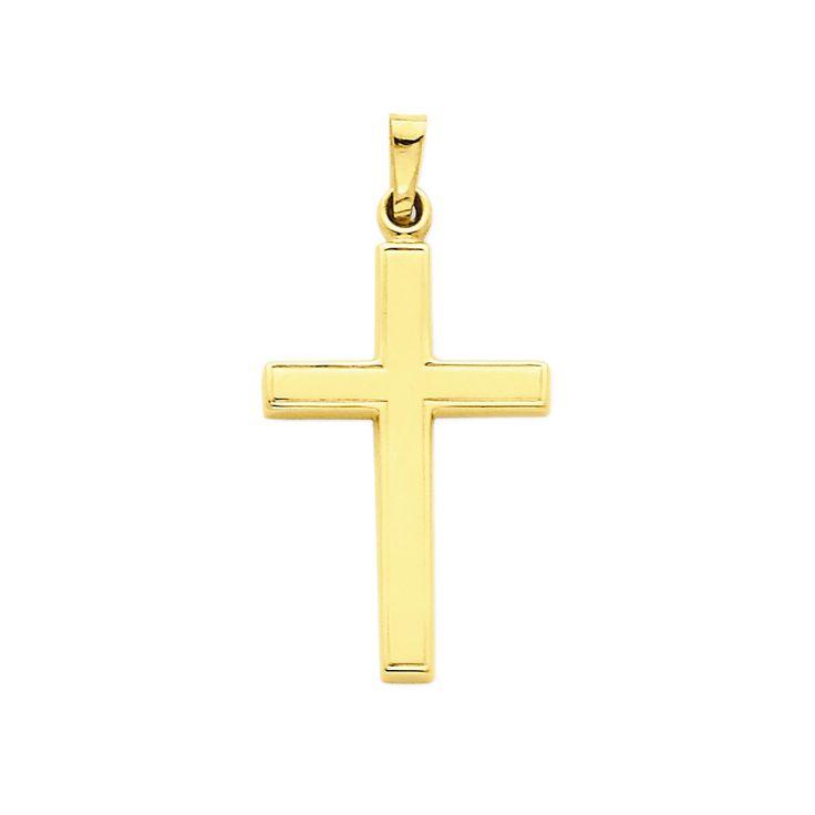 14k Yellow Gold Latin Cross Charm Pendant - 33mm