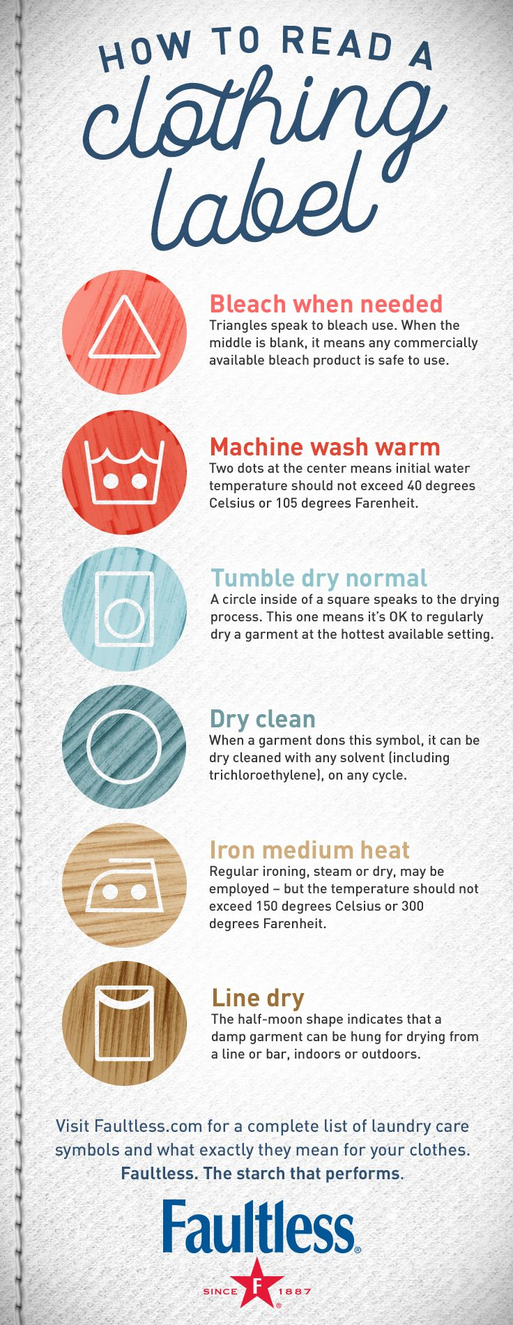 Learn How To Read a Clothing Label with this easy laundry guide!    Wash warm. Use low heat. Bleach as needed. If you're not checking your clothing labels you could end up damaging some of your favorite fall outfits while doing your normal laundry routine.