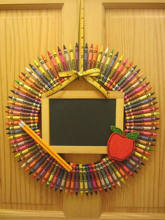 This wreath is made from CRAYOLA crayons. Attached is an apple , chalkboard and pencils.  This doesnt have to just be for teachers! This is perfect for that artist in your life. Can be customized. Message me with your ideas. **Accessories may not be exactly as shown**  If you choose the option to have your crayon wreath personalized please put the name you would like in the note to seller section while ordering. This item will be personalized on the chalkboard.