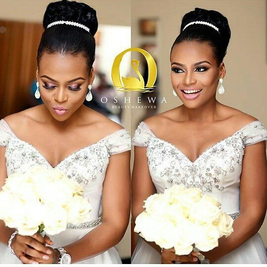 Bride @r3nny_a looking absolutely stunning on her big day  Hair by @hairbysleame  Makeup by @oshewabeauty  #bride #bridal #bridalinspiration #idonigeria #weddings
