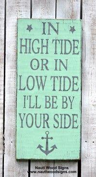 Beach Decor, Nautical Theme, Anchor Decor Wood Sign, High Tide ...