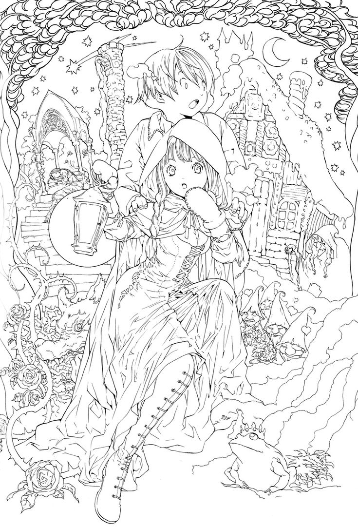 Art coloring pages for adults - Try It Yourself Anime Drawing Of Children Lost In The Woods Lineart Adult Fairies Coloring Pages