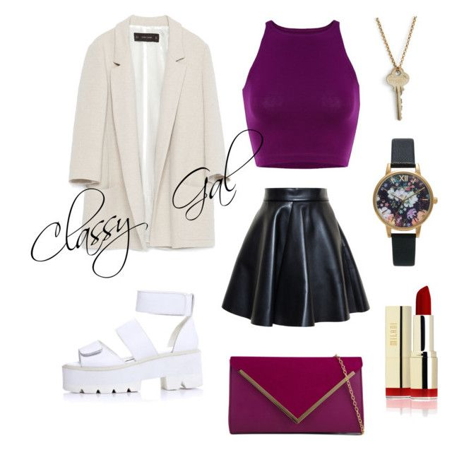 Classy-Girl day out by fourleafclover011 on Polyvore featuring polyvore, fashion, style, Zara, MSGM, ALDO, The Giving Keys and Olivia Burton