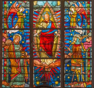 Paris - detail from main portal of Saint Denis first gothic ...
