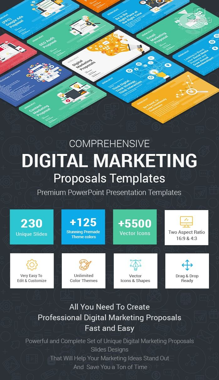 Best Digital Marketing Proposals Powerpoint Templates Slidesalad Marketing Proposal Proposal Templates Digital Marketing