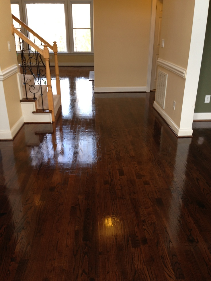 Red Oak Hardwood Floors After Three Coats Of Polyurethane Semi Gloss; Mix  Of Minwax Dark
