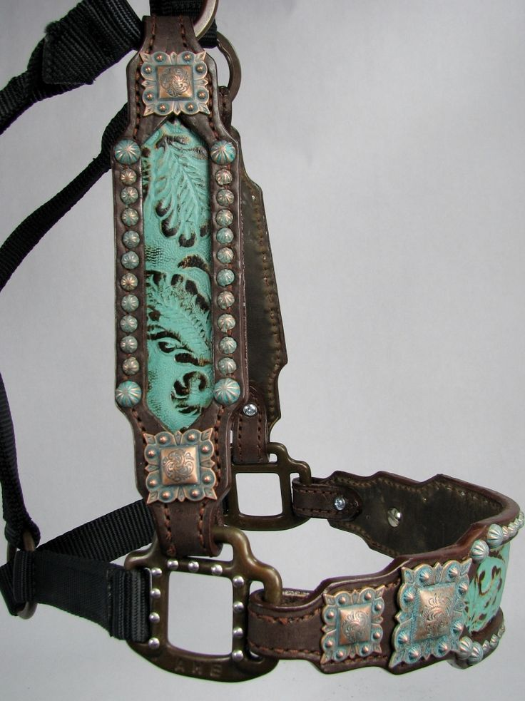 Turquoise Western Scroll Inlaid Halter with Copper Patina Verdigris Conchos by Running Roan Tack