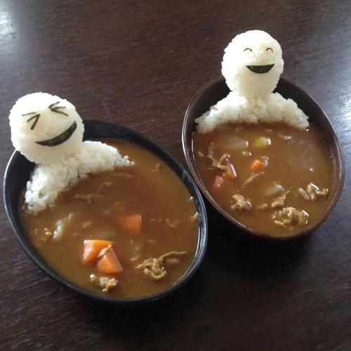 Cool way to serve à childrens dish!Ideas, Rice, Beef Stew, Bath, Funny Food, Soup, Foodart, Food Art, Curries