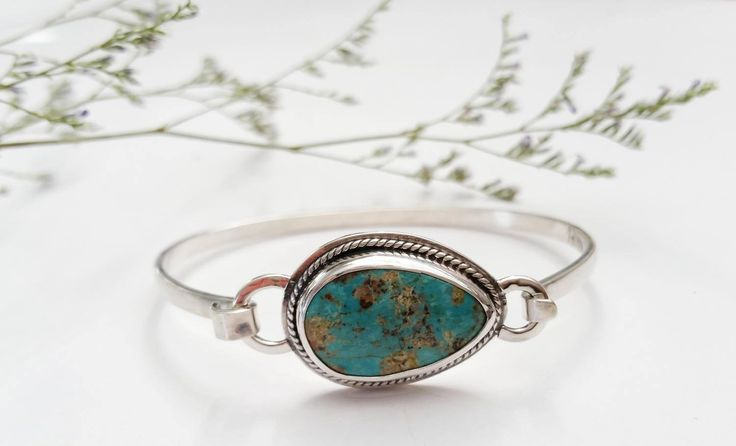 Turquoise and Sterling Silver Latch Bangle Bracelet by RebeccaGeoffrey on Etsy