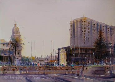 'Twilight at Glenelg', watercolour on paper, image size 71 cm x 52 cm, unframed $1000. ©The estate of Peter Chaplin.   All rights reserved.