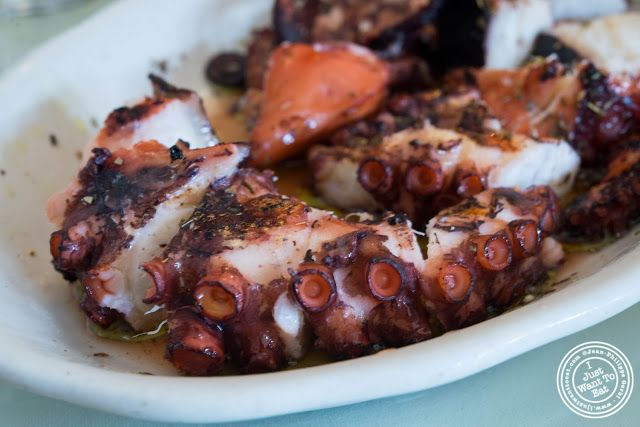 image of grilled octopus at Telly's Taverna in Astoria, New York