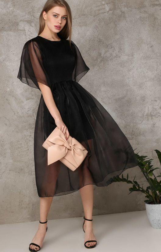 Коктейльное платье-миди из полупрозрачной органзы TOP20 Studio / 2000000250306-1