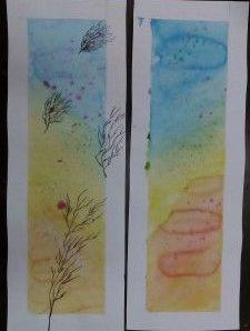 Akwarelka, barwny podkład, rysunek cienkopisem,kl VI