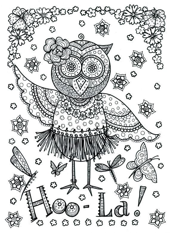 Poster Owl Hoola Coloring Poster to Color large by ChubbyMermaid, $3.99