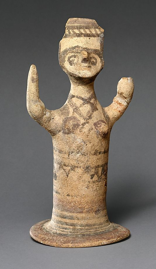 Terracotta female figure Period: Cypro-Geometric II–III Date: ca. 950–750 B.C. Culture: Cypriot Medium: Terracotta; wheel-made and hand-m...