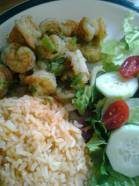 Chili verde shrimp and mexican rice