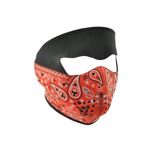 ZANheadgear Neoprene Full Mask - Red Paisley Bandanna