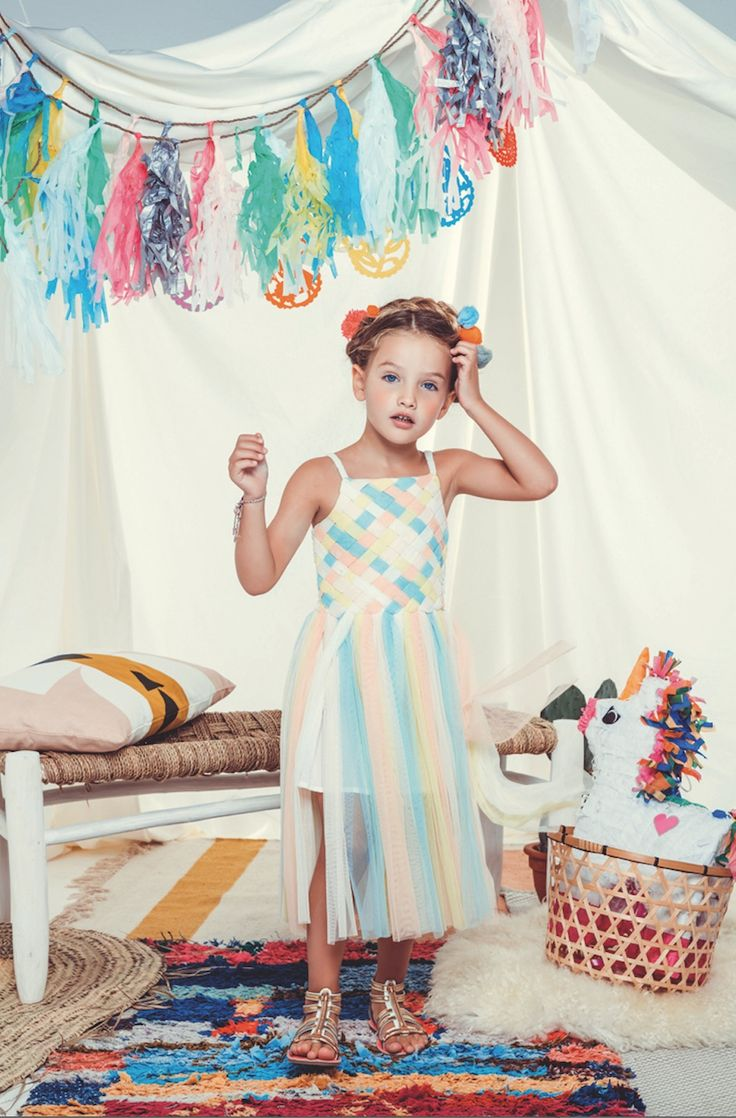 Beautiful pastel rainbow dress by Billieblush at House of Fraser for summer 2016