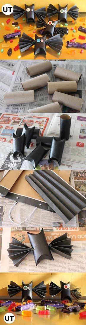 Halloween manualidades: murciélagos con tubos de cartón