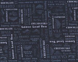 Patchworkstoff AFTERNOON DELIGHT, Schrift Kaffee und Tee, schwarz