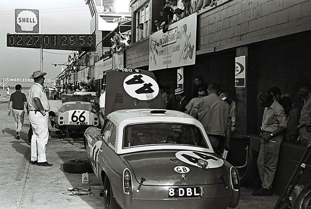Pit action at Sebring 1966In the pits at Sebring 1966. The #44 MG B was driven by Paddy Hopkirk and Andrew Hedges. The #66 car is an Austin-Healey Sebring Sprite that was driven by Rauno Aaltonen and Clive Baker. The Healey finished in 29th position while th MG B failed to finish to to a busted con rod.