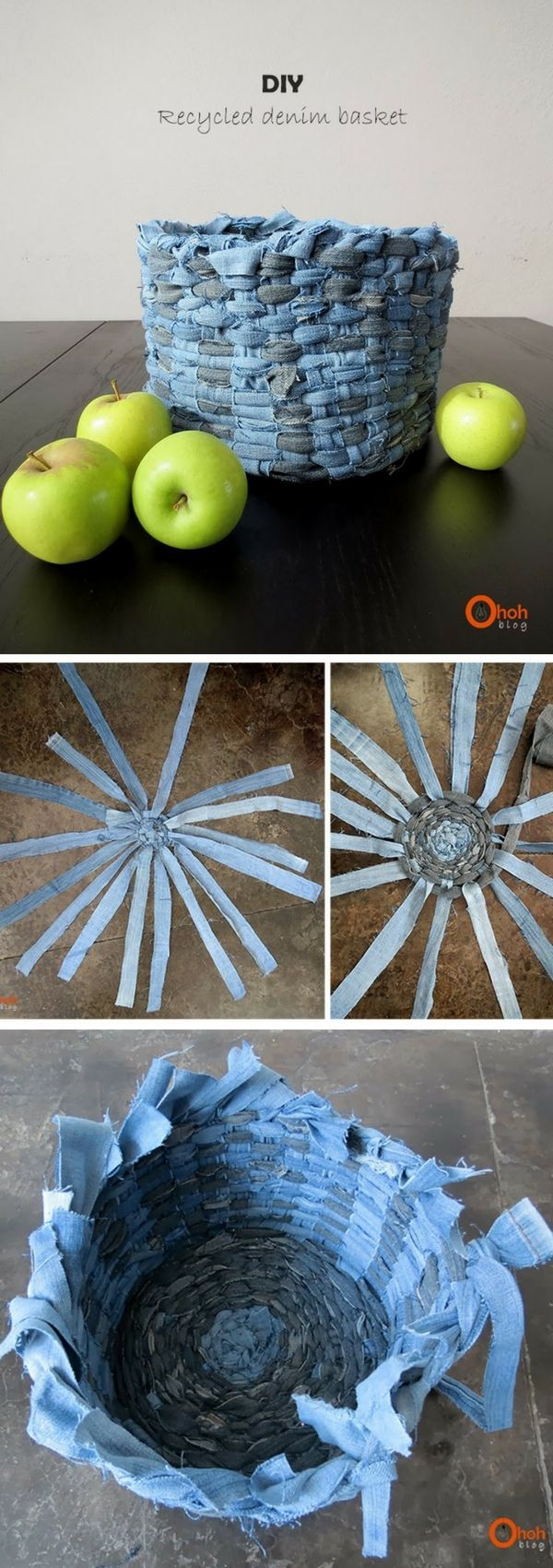 Check out how to make a DIY decorative basket from old jeans @istandarddesign