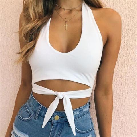 0b9ce305466 New Sexy Women Cut Out White vest Bustier Crop Tops Bralette Strappy  Crochet Blusas Bandage Halter