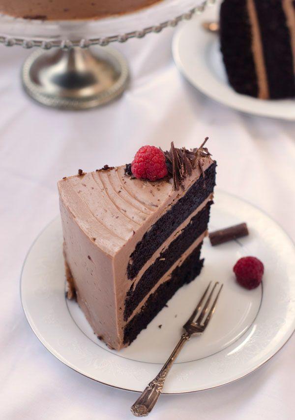 Dark Chocolate Cake with Nutella Swiss Meringue Buttercream Frosting