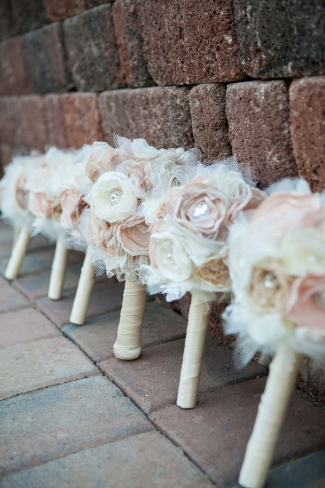 Beautiful paper, crystal and ribbon wedding bouquets...