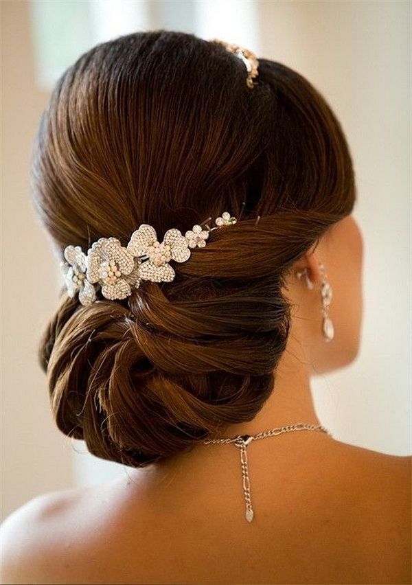 princess wedding bridal updo hairstyle with headpieces