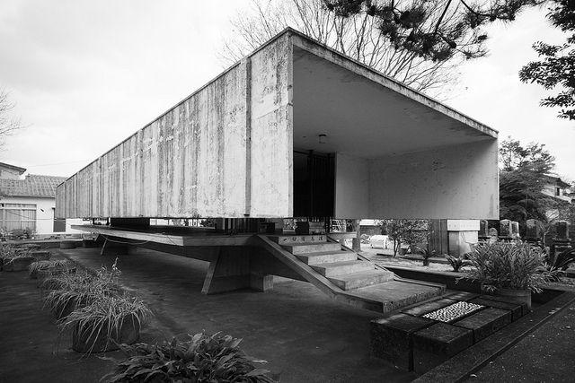 Toku'un-ji Temple Ossuary  徳雲寺 納骨堂    Architect: Kiyonori Kikutake 菊竹清訓  Location: Kurume, Fukuoka, Japan  Completion year: 1965