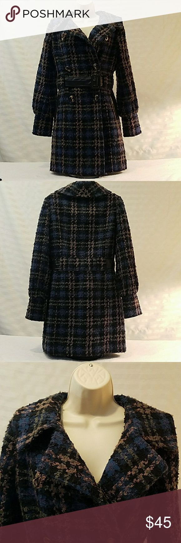 Steve Madden women's peacoat Bishop sleeves Steve Madden  Women's coat   Size medium   Black Blue Olive taupe   Plaid   Peacoat   Bishop sleeves   Belted  Two pockets   Metal tag is not connected see photo   90% acrylic 10% polyester  lining 100% polyester Steve Madden Jackets & Coats Pea Coats