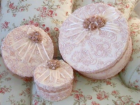 Set of 3 Victorian Beaded Lace Boxes in Pink  available from Roses and Teacups