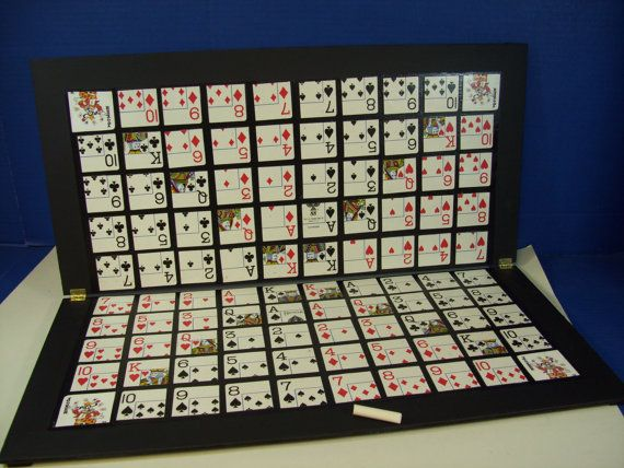This one of a kind enlarged Sequence Game board features Jumbo playing card faces mounted on a 2 x 2 plywood painted playing surface. • Cards are