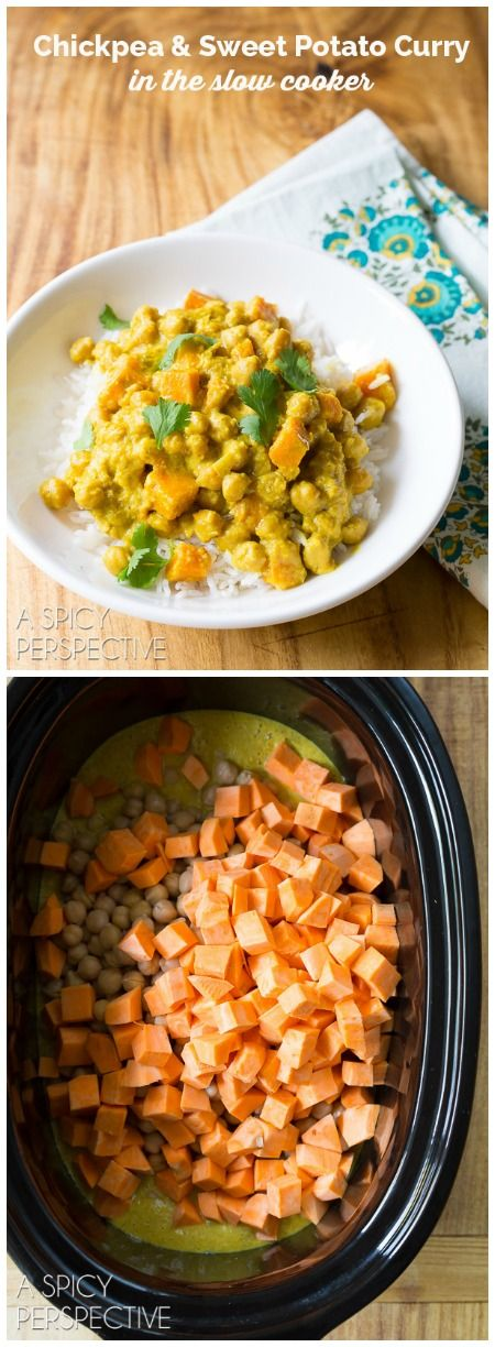 Simple Sweet Potato Chickpea Curry in the Slow Cooker! #slowcooker #crockpot via @spicyperspectiv