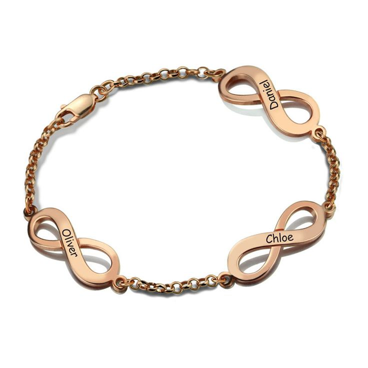 Three Engraved Names Infinity Rose Gold Bracelet
